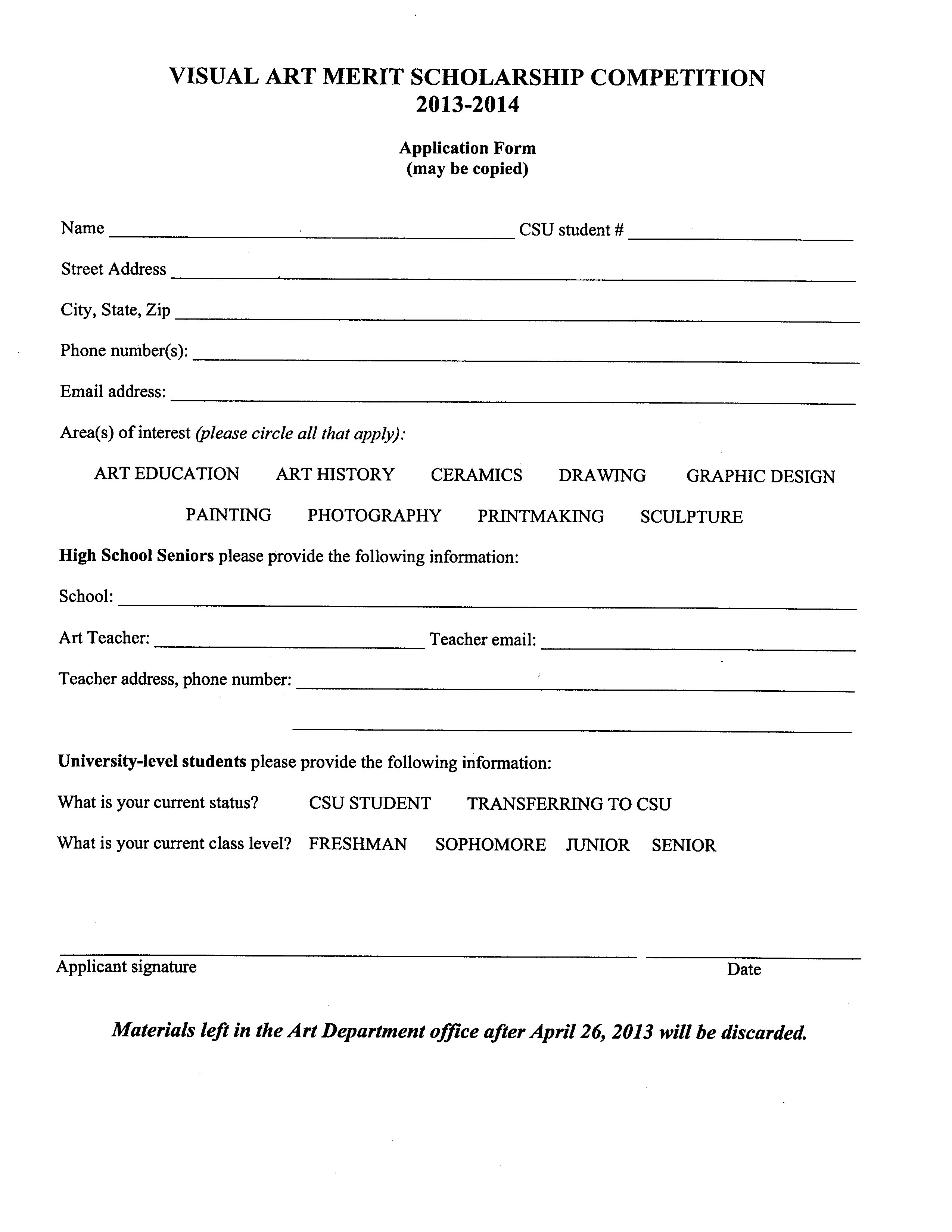 merit scholarship info and entry form