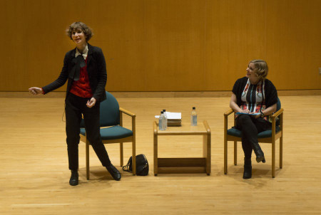 Miranda July getting animated during the interview with Alissa Nutting .