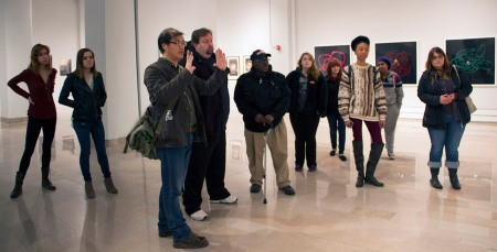 Chen talking about the student exhibitions currently on view at The Galleries at CSU.