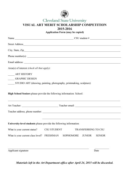 VISUAL ART MERIT SCHOLARSHIP COMPETITION 2015-16